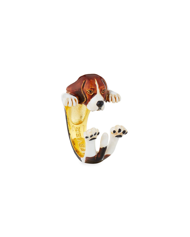 Visconti & Du Réau Beagle Plated Enamel Dog Hug Ring, Size 6