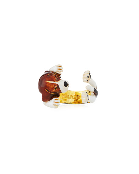 Visconti & Du Réau Poodle Plated Enamel Dog Hug Ring, Size 7