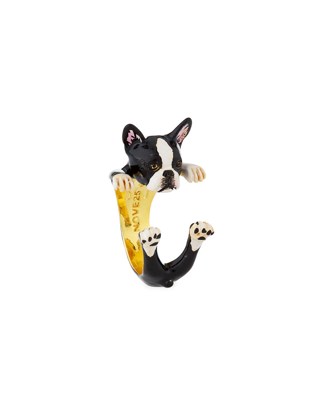 Visconti & Du Réau Boston Terrier Plated Enamel Dog Hug Ring, Size 8