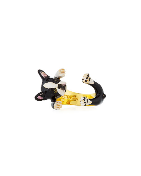 Boston Terrier Plated Enamel Dog Hug Ring, Size 7