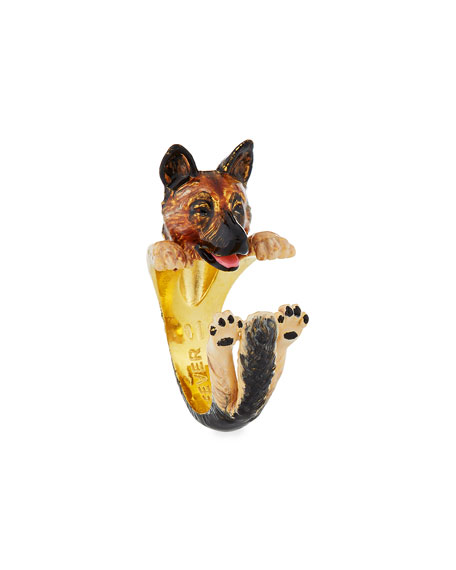 German Shepherd Plated Enamel Dog Hug Ring, Size 7