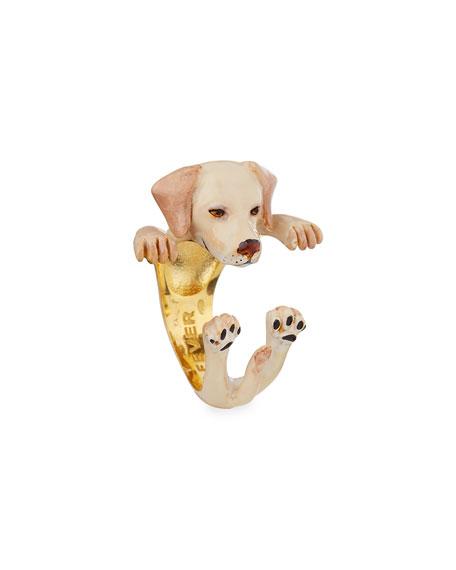 Labrador Retriever Plated Enamel Dog Hug Ring, Size 8