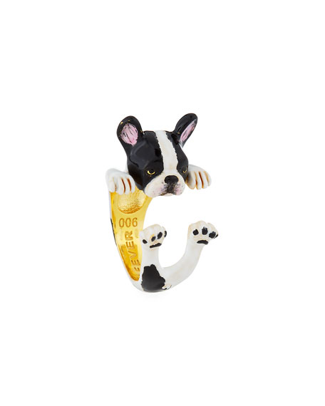 Frenchie Plated Enamel Dog Hug Ring, Size 7