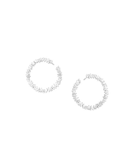 18k Sideways Spiral Diamond Hoop Earrings