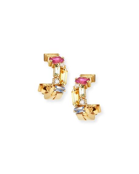 18k Mini Huggie Sapphire & Diamond Fireworks Hoop Earrings