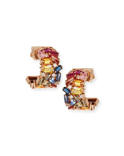 18k Mini Thick Huggie Sapphire & Diamond Fireworks Hoop Earrings