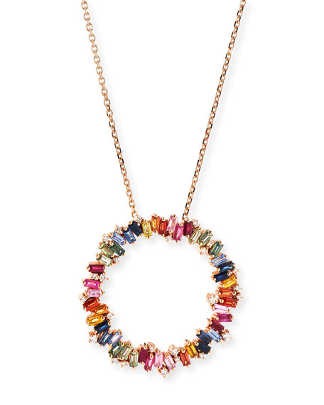 Suzanne kalan 18 zigzag rainbow sapphire diamond circle pendant 18 zigzag rainbow sapphire diamond circle pendant necklace aloadofball Choice Image