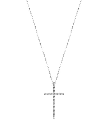 Flawless Diamond Cross Pendant Necklace in 14K White Gold
