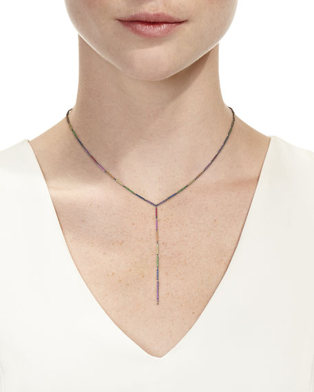 "14k Black Gold Multi-Sapphire Lariat Necklace, 19"""