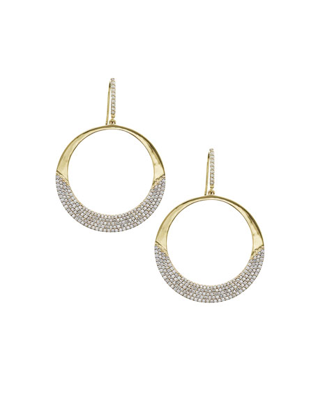14k Flawless Small Diamond Crescent Hoop Earrings