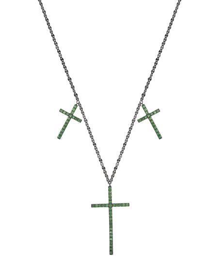14k Black Gold Triple Cross Pendant Necklace with Tsavorite