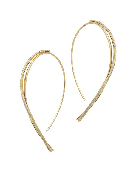 14k Flawless Small Twist Hooked On Hoop Earrings with Diamonds