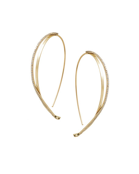 14k Flawless Large Diamond Twist Hooked-On Hoop Earrings