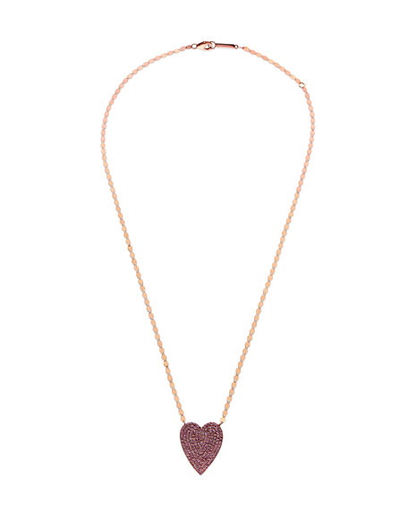 Lana Jewelry 14k Large Pavé Pink Sapphire Heart Pendant Necklace W6fEQQ