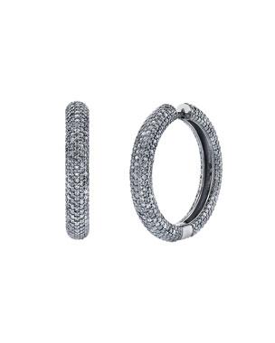 8f05d51b4 Sheryl Lowe Thick Diamond Pave Hoop Earrings