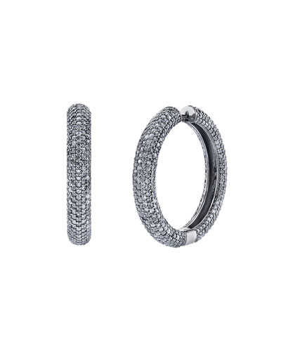 Thick Diamond Pavé Hoop Earrings