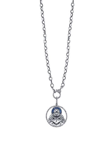 "Sapphire Halo Buddha Pendant Necklace, 41"""