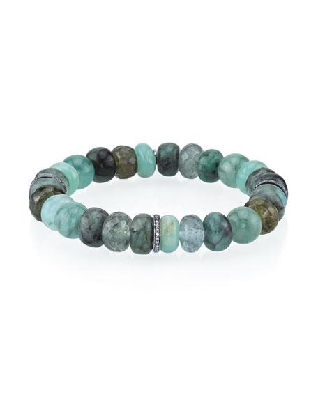 10mm Green Mix Bead Bracelet with 3 Diamond Rondelles
