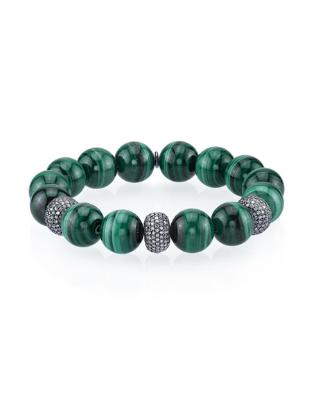 12mm Malachite Bead Bracelet with 3 Diamond Donuts