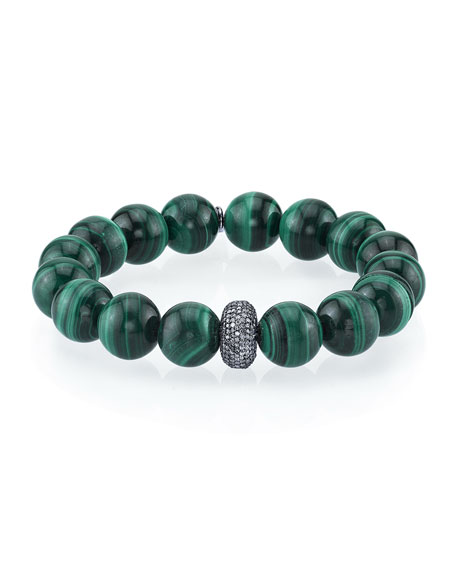 12mm Malachite Diamond Donut Bead Bracelet