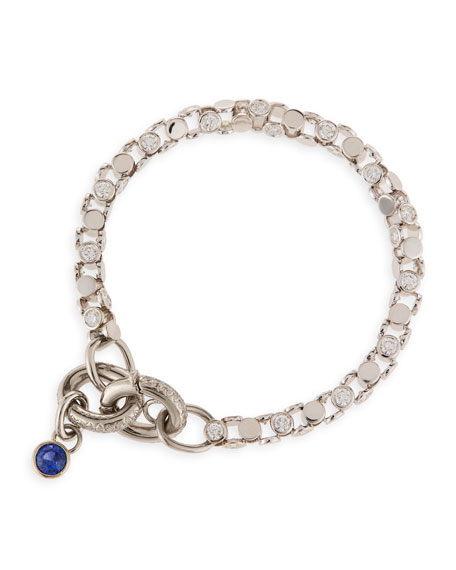 18K White Gold Partial Diamond Watch Bracelet with Blue Sapphire Toggle