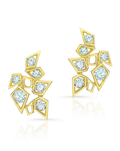 14k Aquamarine Cluster Earrings