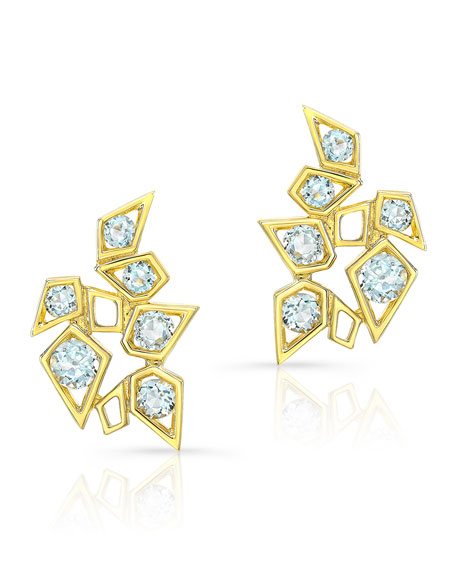 14k Aquamarine Cluster Earrings