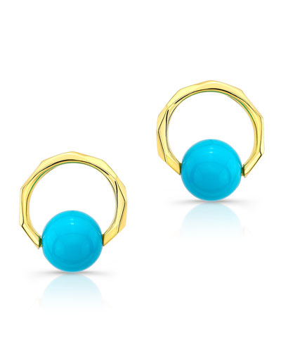 14k Carved Earrings w/ Turquoise