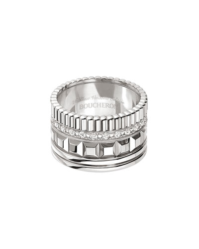 Quatre 18K White Gold Ring with Diamonds, Size 55