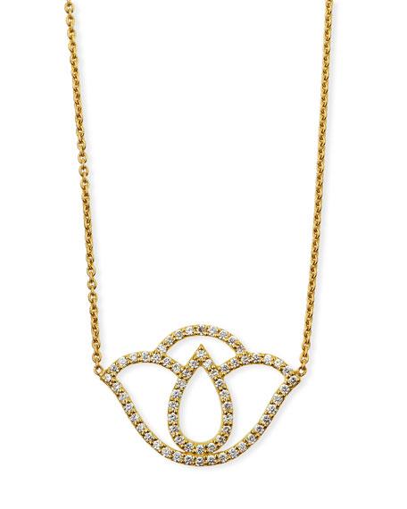 "Thamari Lotus Pendant Necklace with Diamonds, 18"""