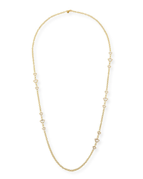 Nalika Lotus Station Necklace with White Topaz & Diamonds, 36""