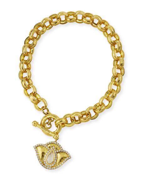 18K Gold Lotus Link Bracelet with Diamonds