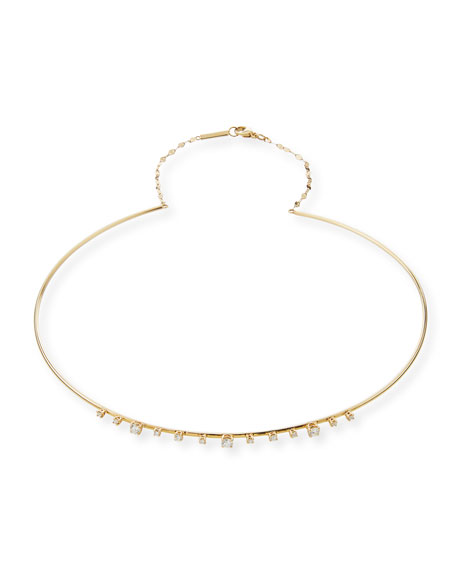 Solo 14k Half Scattered Diamond Choker Necklace