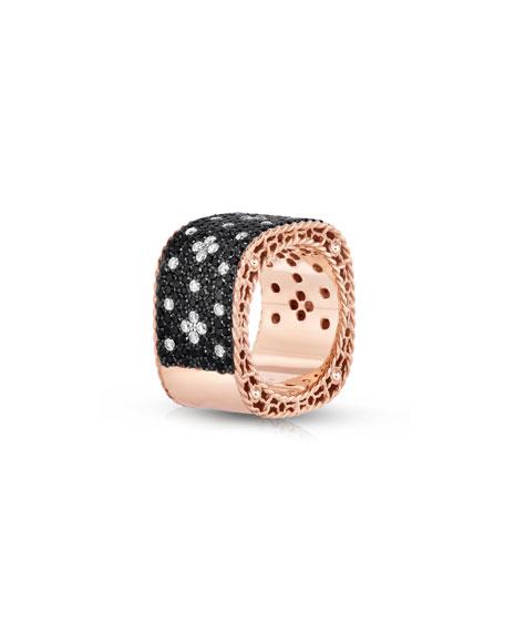 18k Rose Gold Wide Venetian Princess Ring with Black Diamonds, Size 6.5