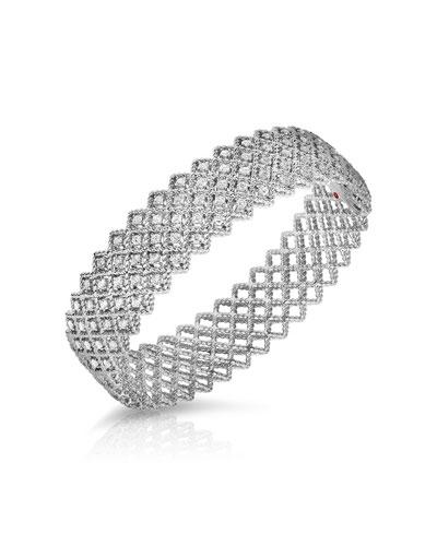 New Barocco Diamond Five-Row Bangle in 18K White Gold