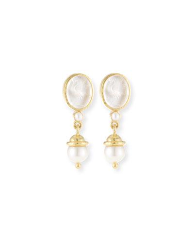 19k Gold Crane Intaglio & Akoya Pearl Drop Earrings