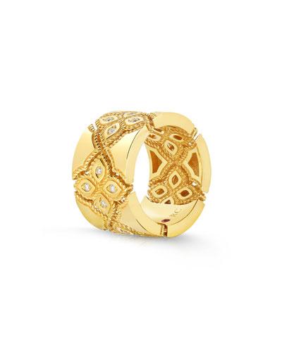 18k Venetian Princess Diamond Ring, Size 7