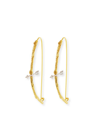 K Brunini 18k Twig Bow & Arrow Earrings