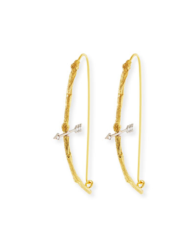 18k Twig Bow & Arrow Earrings