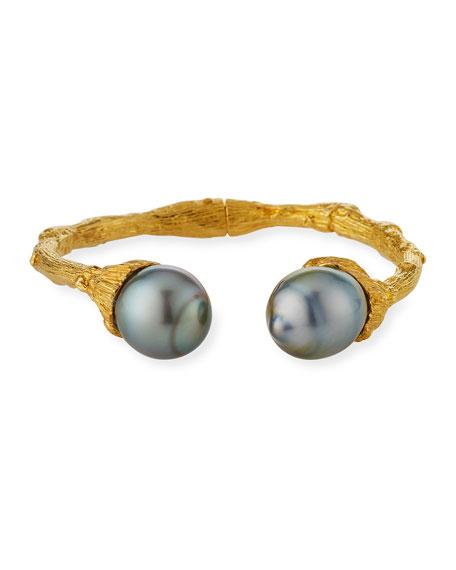 18k Twig Cuff w/ Tahitian Pearls