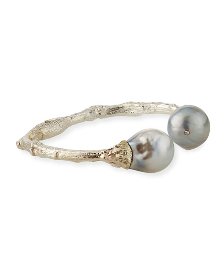 Sterling Silver Twig & 14mm Pearl Cuff, Black