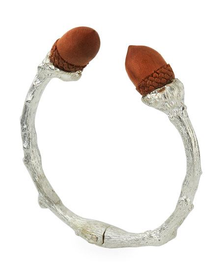 Sterling Silver Twig & Wood Acorn Cuff
