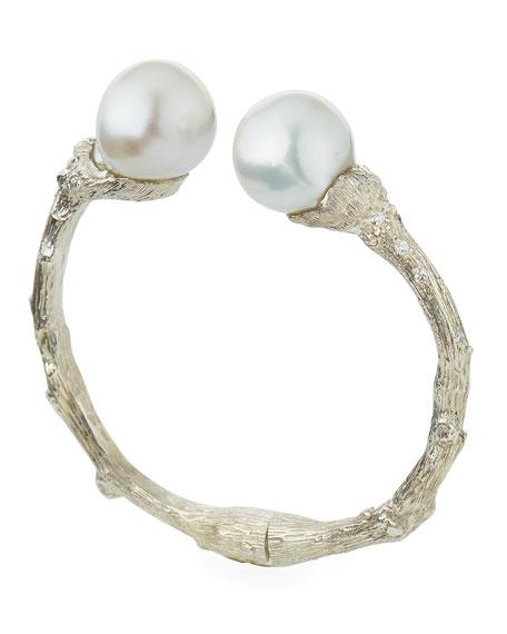 Twig Diamond & 14mm Pearl Cuff