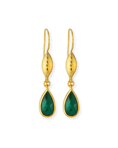 24k Emerald Teardrop Earrings