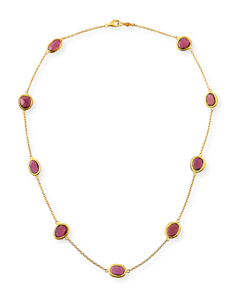 24k Amorphous Rhodolite Station Necklace