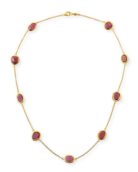 24k Amorphous Rhodolite Station Necklace