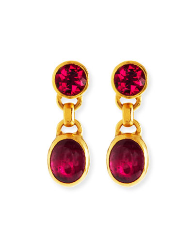 24k Tourmaline Double Drop Earrings