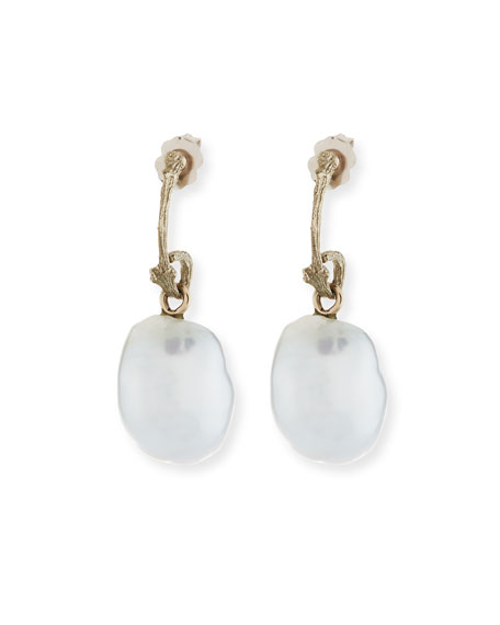 K Brunini 18k Pette Twig Pearl Drop Earrings