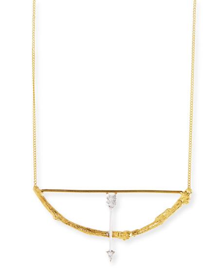 18k Twig Bow & Arrow Pendant Necklace