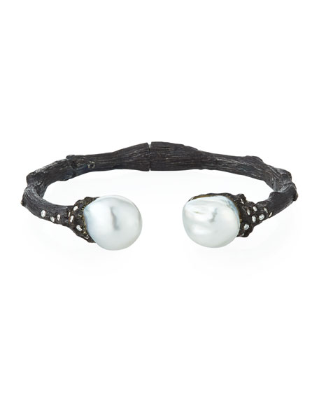 Twig Diamond & Pearl Split Cuff